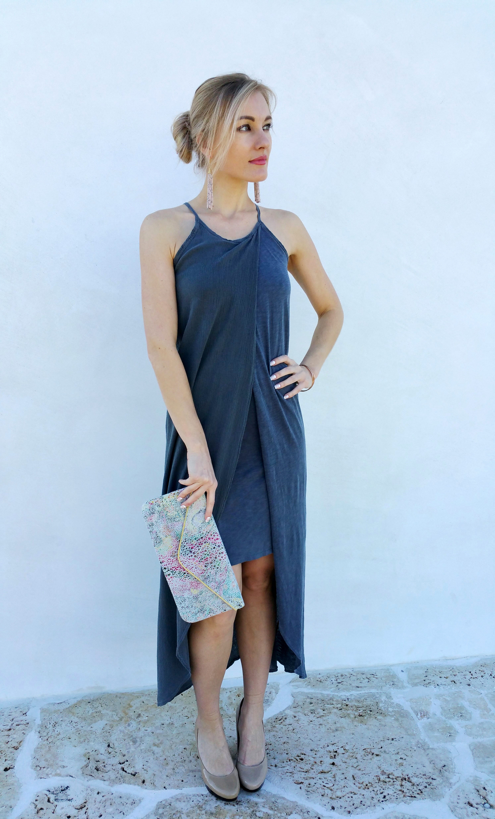This is how you take the same look from day to night.  Marta is wearing the gray dress by Stateside and I changed her bag to a gorgeous  Coastal Road  clutch, sexy tassel earrings by Vintage Green and heels to create an evening look with the same dress.