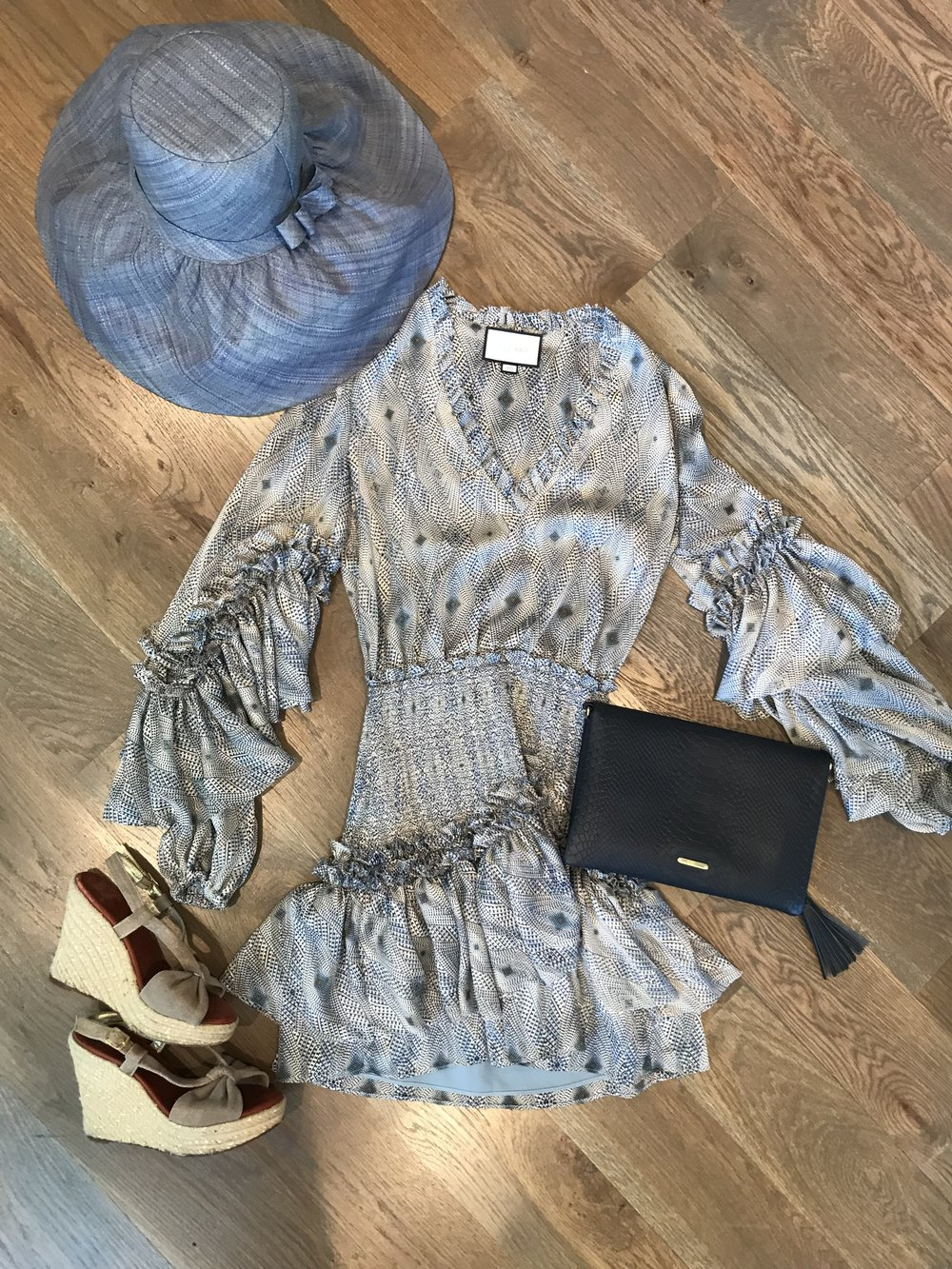 Dress:  Alexis (available at Alys Shoppe)    Wedges:  Matt Bernson                                              Handbag:  Gigi NYC       Hat:  Dillards