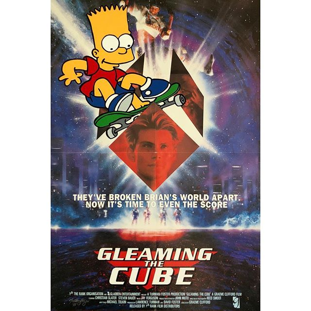 """They've broken Bart's world apart.""- Gleaming the Cube x Bart Simpson - Available - 27"" x 41"" . . Acrylic painting on an authentic 1989 US One-sheet for the skate boarding #cultclassic #GleamingtheCube starting @realchristianslater. . . #snipeart #popart #bartsimpson #thesimpsons #skateordie #simpsons #simpsonsmoviereferences"