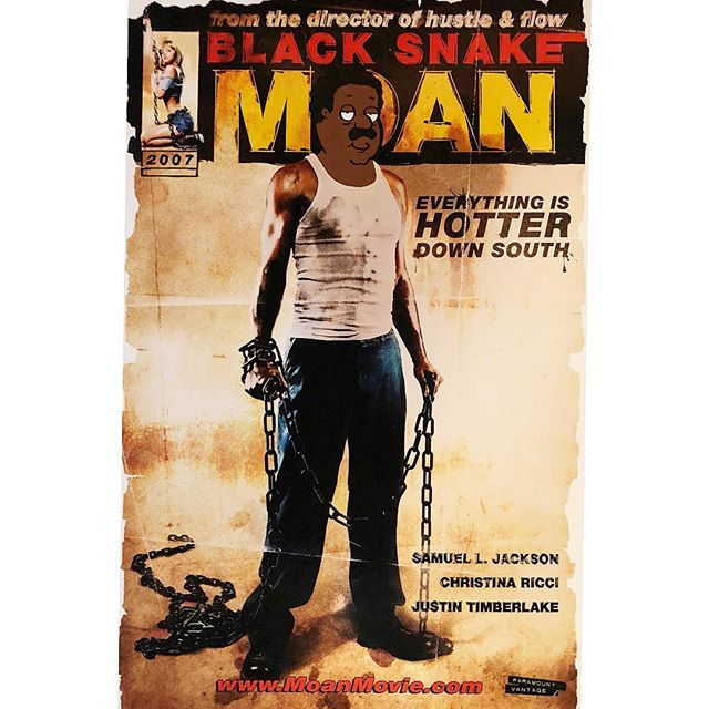 """Brown Snake Moan"" - Black Snake Moan x Cleveland Brown (Family Guy) - Available . . Acrylic painting on a 2007 US promotional movie poster for the @samuelljackson drama #BlackSnakeMoan, also starring @riccigrams and @justintimberlake . . #familyguy #snipeart #popart #theclevelandshow #clevelandbrown #samuelljackson #justintimberlake #christinaricci"