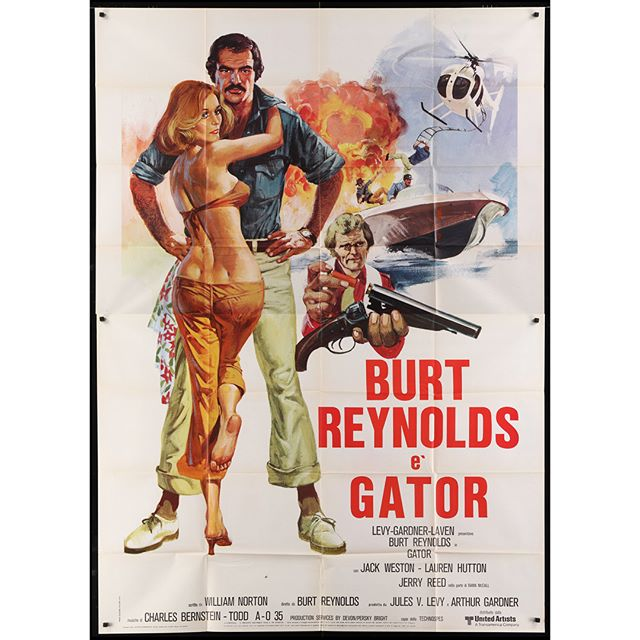 "RIP - Burt Reynolds was one of the biggest stars in Hollywood for years .... He turned down Han Solo before it was offered to Harrison Ford. He turned down Bond ... . . Here are two amazing posters from a couple of my favorite #BurtReynolds films. I need to get both of these linen backed and do some #Archer mashups!! . . Gator - Authentic 1976 Italian 2-Panel . White Lightning - Authentic 1973 French ""Grande"""