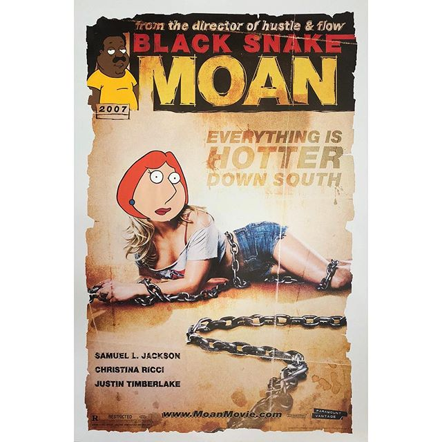 Brown Snake Moan v.2 - Black Snake Moan x Family Guy . . Acrylic painting on an authentic 2006 theater used US One Sheet for the #samuelljackson, #christinaricci, #justintimberlake drama #BlackSnakeMoan . . Came up with this concept as I was going through a bunch of posters. I've got several versions and sizes of posters for this particular movie so I'm trying some different variations. Think I'm going with Meg on this next version though 😜 #snipeart #popart #movieposterart #familyguy #petergriffin #loisgriffin #meggriffin