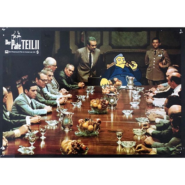"""Do him two favors and then remind him that he owes us a favor"" - Godfather II x Fat Tony (Simpsons) . . Acrylic painting on an authentic 1975 #German lobby card for the sequel to #FrancisFordCoppola classic #TheGodfather - This piece will be on display at @hvw8gallery from Oct 12th thru Oct 21st !!! . . #snipeart #popart #thesimpsons #simpsonsfan #simpsonsfanart #movieposterart #fattony #thegodfather #thegodfatherpart2"