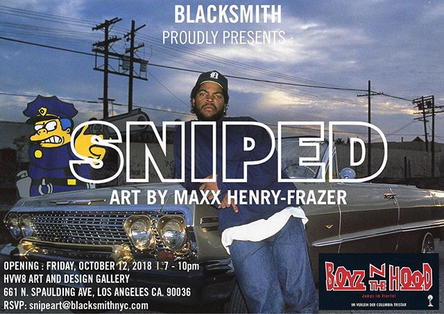 SNIPED is only a week away!! If you are in LA, join me for a evening of awesome pop cultural mashups like you've never seen before!! . @hvw8gallery October 12 - 7pm to 10pm . 661 North Spaulding Ave, Los Angeles, CA 90036 . RSVP - snipeart@Blacksmithnyc.com . . #snipeart #popart #artexhibition #dtlaartsdistrict #dtla #dtlanightlife #soloshow #hvw8gallery #hvw8 #movieposterart