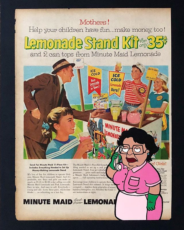 """Estos ninos no tienen permiso para vender aqui!"" aka Concerned Consuela v1 . . Can you imagine the outrage from #FoxNews if a minority were to call the police on a couple of white kids with a lemonade stand!?!? . . Acrylic painting on an authentic linen backed 1950's magazine ad for Minutemaid Lemonade. . . Created this piece after being inspired by a digital concept from one of my favorite artists (@thatsodope) This theme explores the absurdity of ""concerned"" citizens calling the police on minorities for no reason. From #bbqbecky to #permitpatty we're living in a time when just going about your day as a minority isn't safe. When I saw that this disturbing trend started to affect children out selling water or cutting the grass, I knew that I had to create something to speak to the insanity of it all. . . #snipeart #popart #vintagead #racialprofiling #bbqbecky #permitpatty #concernedconsuela #familyguy #consuela #fauxnews"