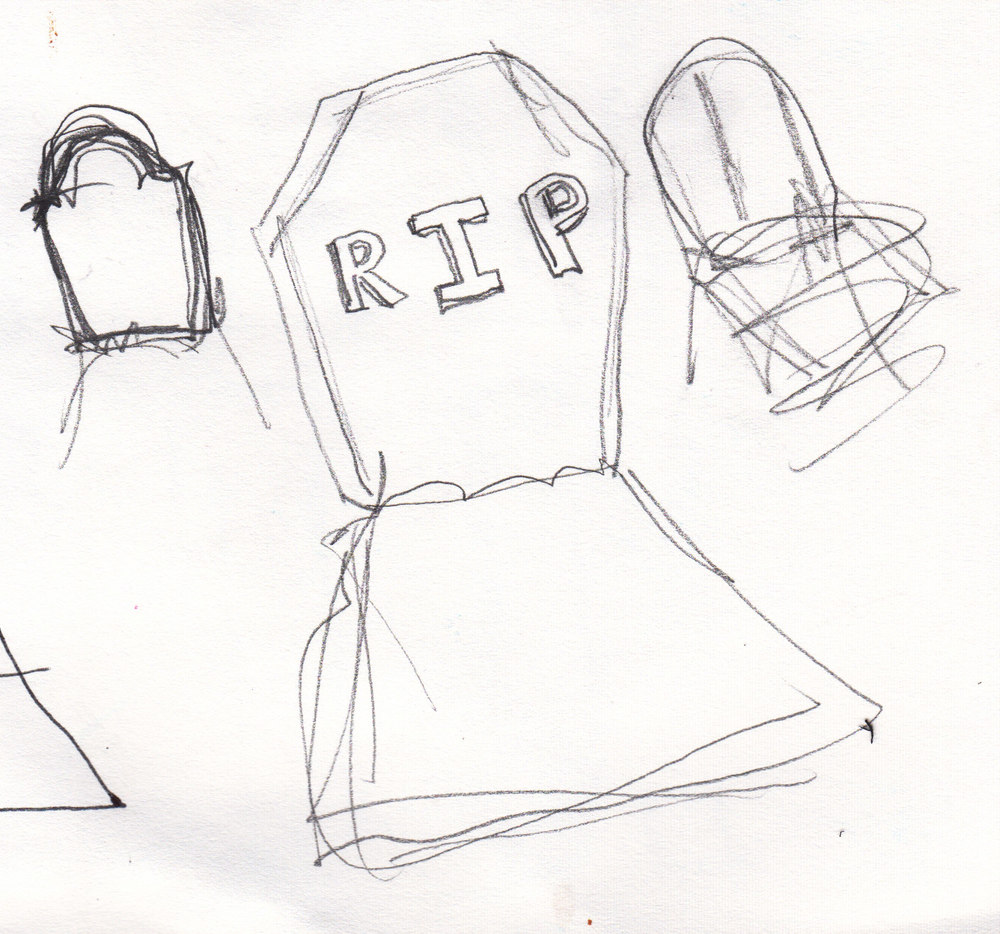 G is for graveyard stage 1 sketch
