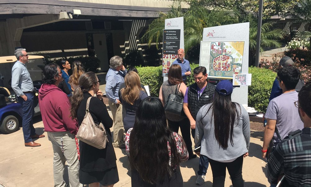 """Shared Governance"": Southwestern College–students, faculty and staff inspect mock-ups for new wayfinding signs to ensure optimum accessibility."