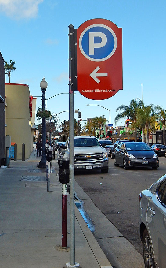 Clearly marked parking encourages foot traffic and visits to local businesses.