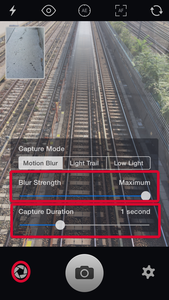 Settings for motion blur in Slow Shutter Cam App