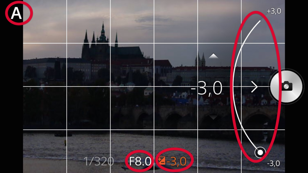 Manual bracketing mode with a Sony QX attachable lens style camera.