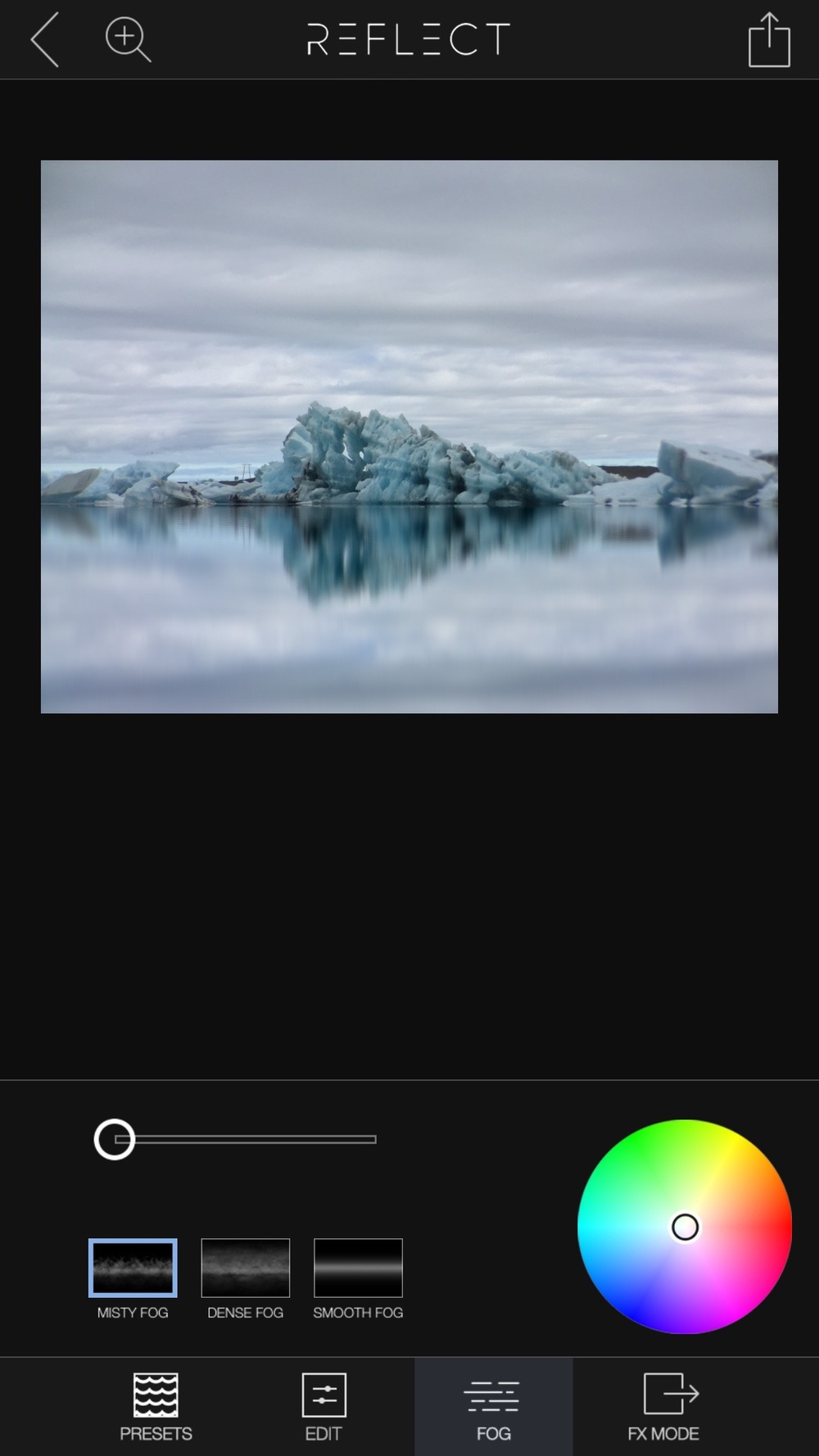 The app offers three different kinds of fog. Use the slider to set the intensity of the fog.