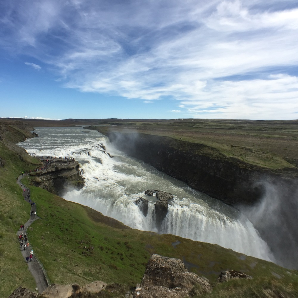 Gulfoss waterfall in Iceland with moment wide lens