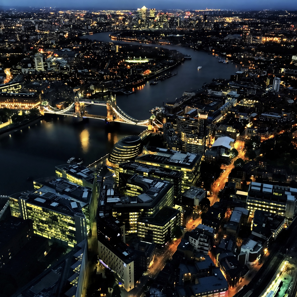 iPhone night photography from the 72nd floor of the Shard in London.