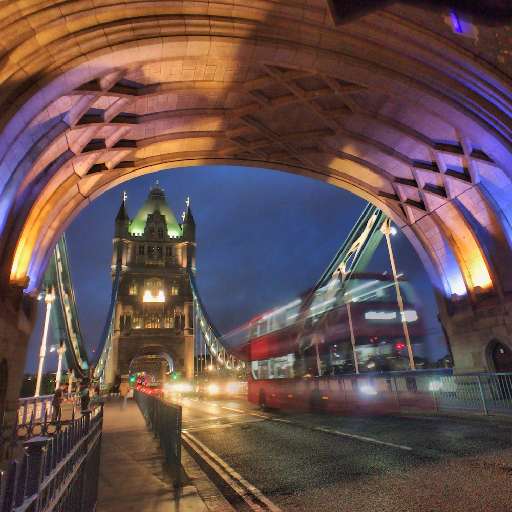 Red Bus at the Tower Bridge in London shot using Slow Shutter Cam App