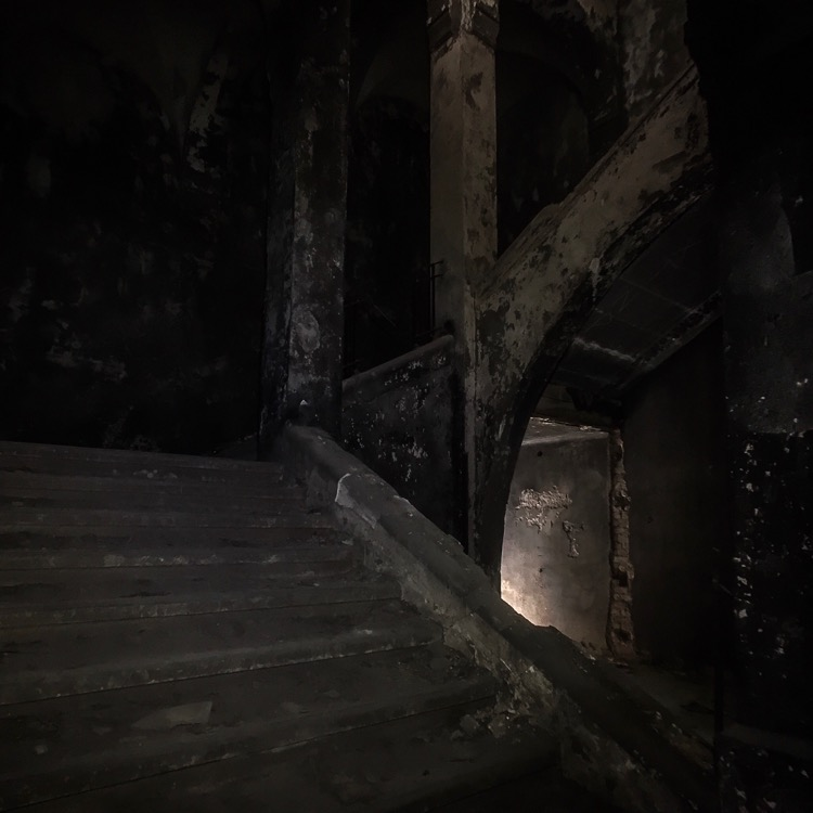 Totall dark stairway at Beelitz