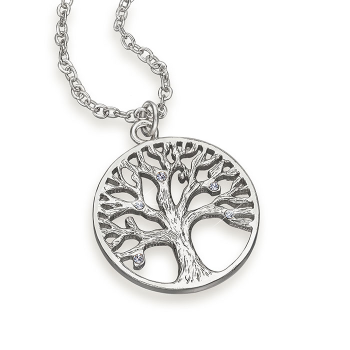 Crystal tree of life pendant necklace made with crystals for What is the meaning of the tree of life jewelry