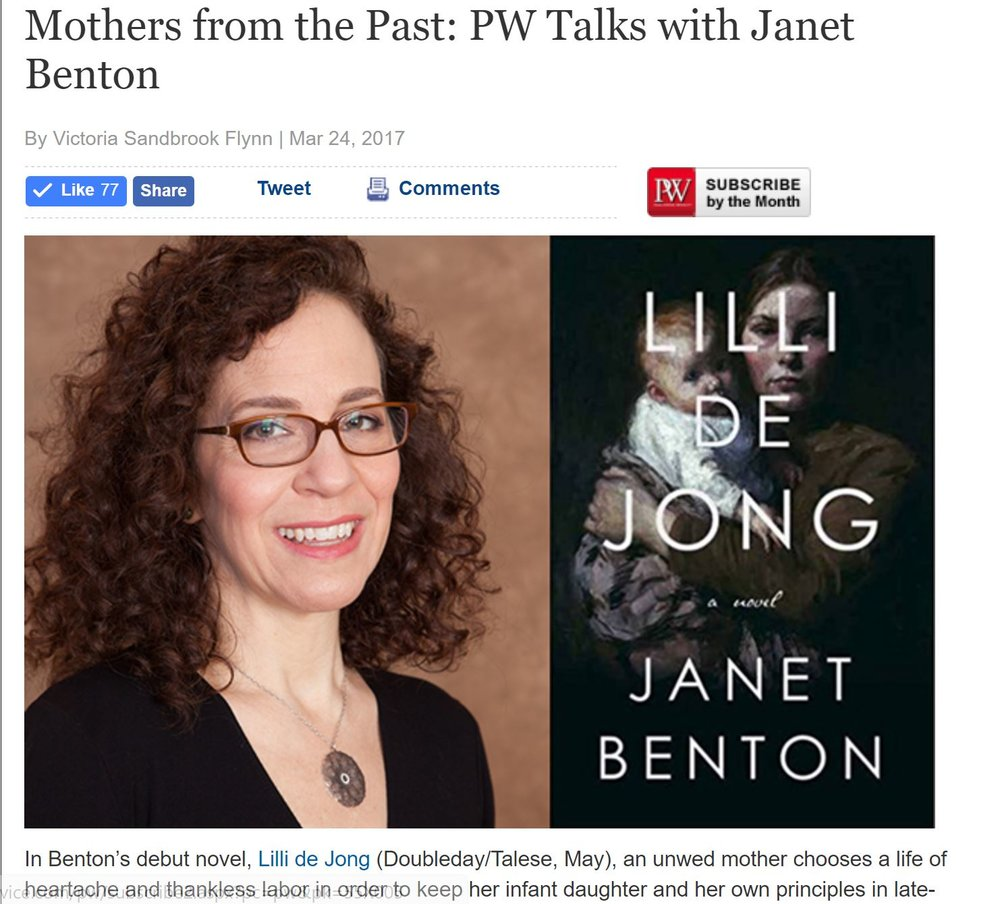 Publishers Weekly interview  by Victoria Sandbrook Flynn -