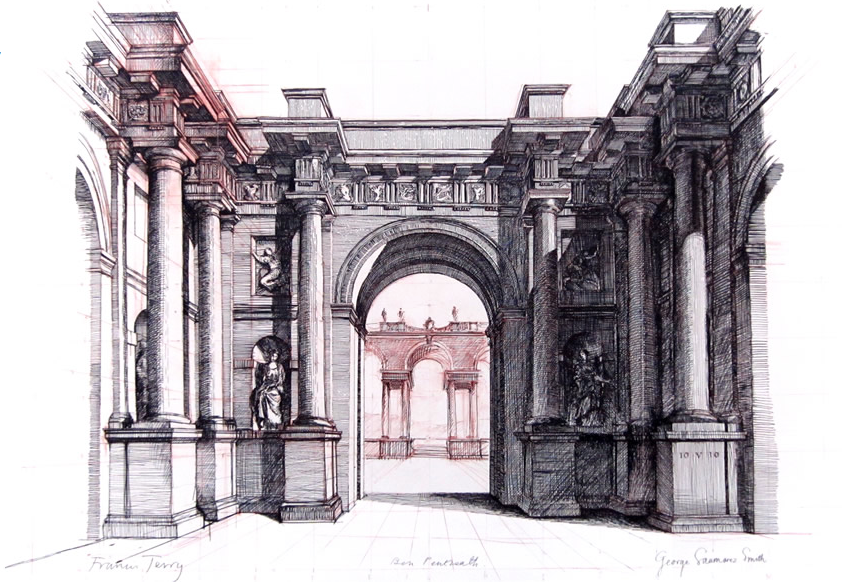 ARCHITECTURAL DRAWING BY BEN PENTREATH, GEORGE SAUMAREZ SMITH AND FRANCIS TERRY