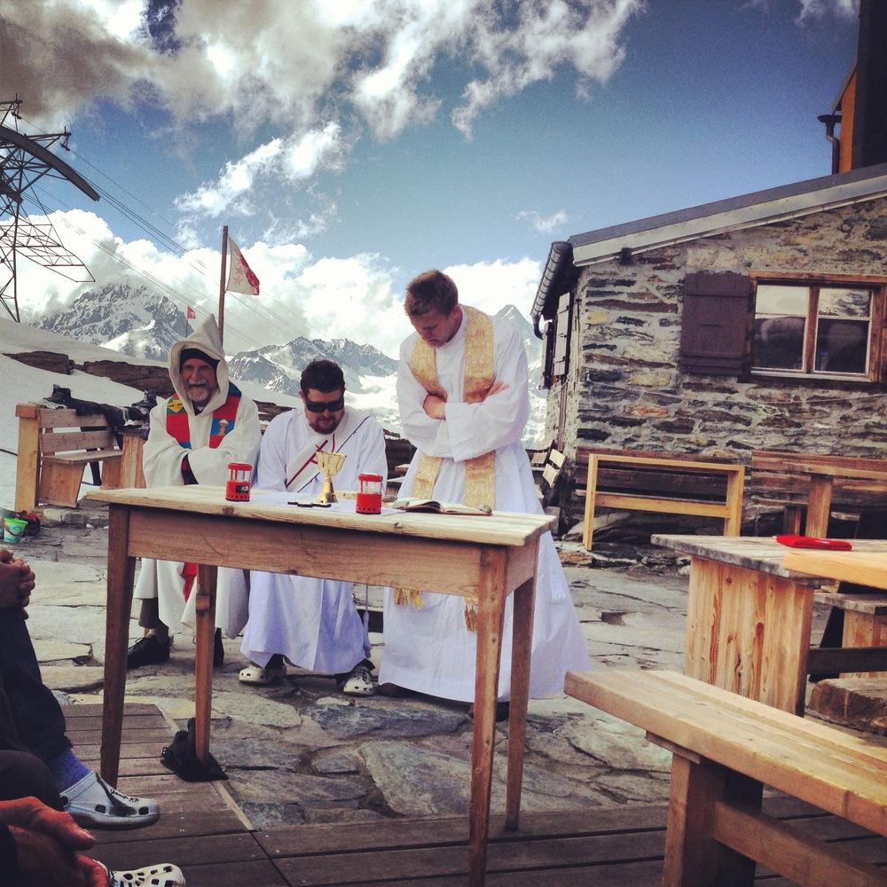 Fr. Nathan and Fr. John preparing to celebrate Mass at the base of the Matterhorn, Zermatt.