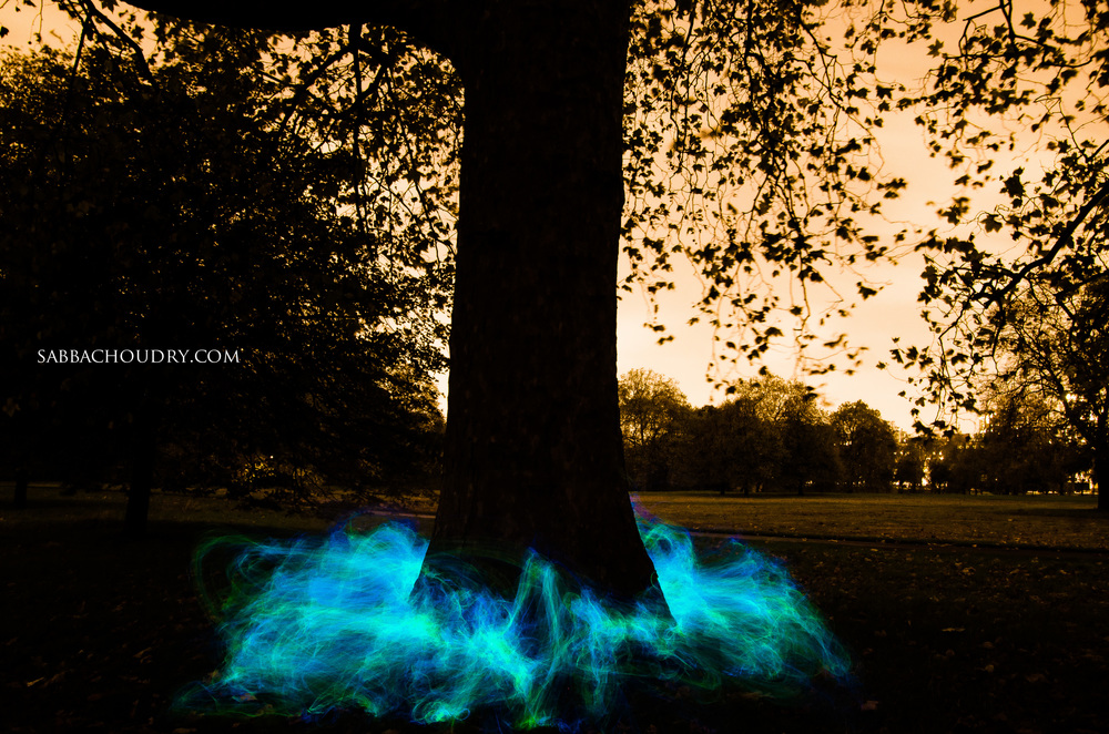 Electric smoke, Hyde Park, London, UK
