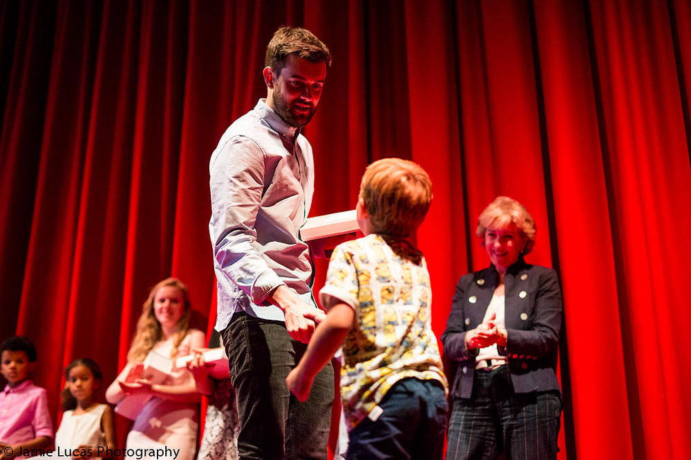 Jack Whitehall presenting  our youngest winner, 4 year old Didier Smith with the Jack Whitehall Award for 'Mr and Mrs Bumble Bee to the Rescue'.
