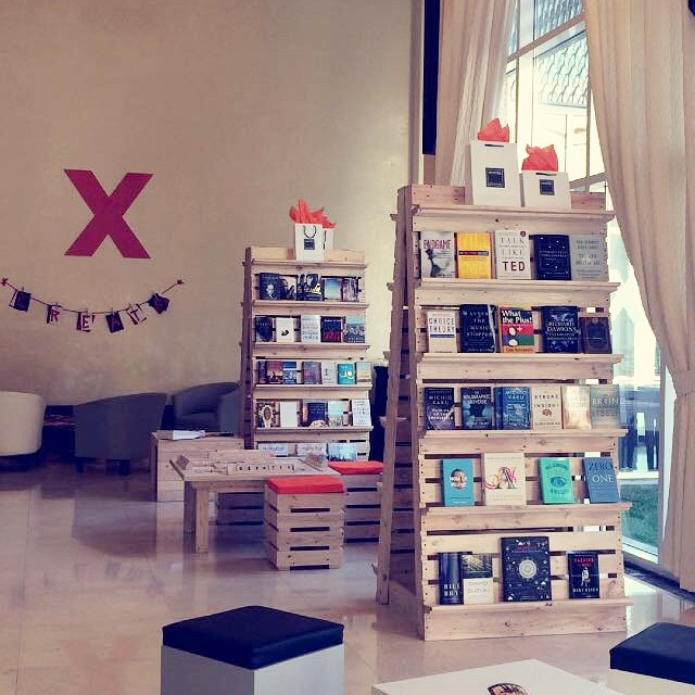 The bookstore set-up by @wordsbookstorecafe who specifically showcased books related to the talks given yesterday and to @ted in general. #tedxahliauniversity. Photo by @mosaffy thanks for sharing!