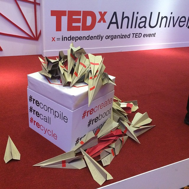 At the end of the event, we asked attendees to write their feedback on a paper plane and throw it at the stage. We've gathered all of your feedback and appreciate them all, one-by-one! These will definitely help build a better event in 2015. Thank you! Thanks to speaker @fakhro1 for the awesome idea. #tedxahliauniversity