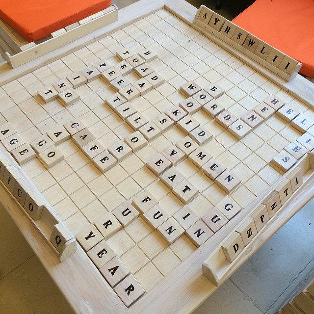 Scrabble table by our partner @wordsbookstorecafe #tedxahliauniversity