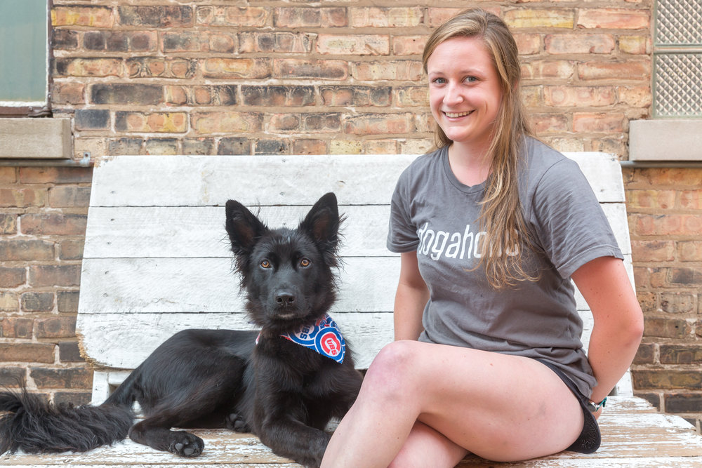 Elise Dog Handler Elise has been working with dogs for over 2 years. Her favorite thing about working at Dogaholics is the variety of dogs we see daily. She especially loves taking her own dog Chief to the dog beach and is a really big Black Hawks fan!