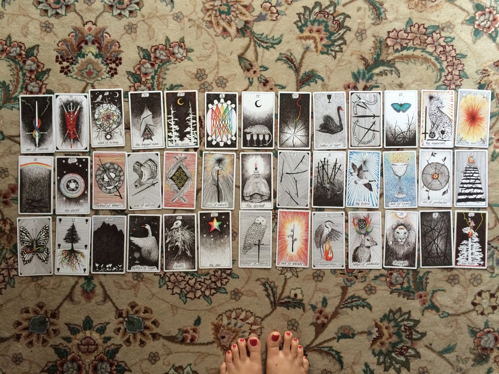 My 13-month spread :: 3 cards per month.  Top: My best path. Middle: What I need to know/look out for Bottom: The Outcome