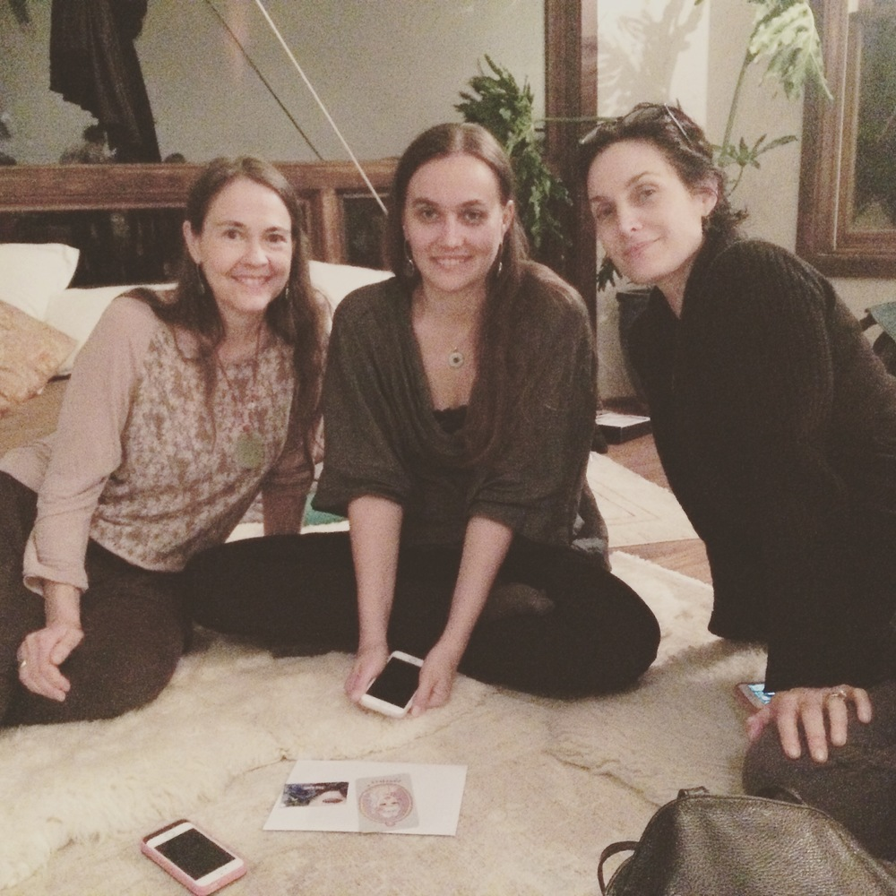 The birthday girls,  Lisa , &  Katie , with yogi-mama-actress Carrie-Anne  @carrieannemoss  after she led us thru some Fierce Grace teachings & meditation.