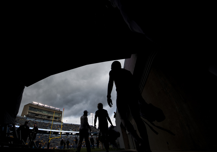 Baylor players take the field for warmups before playing West Virginia on Saturday, Oct. 18, 2014 at Milan Puskar Stadium in Morgantown, W.Va. WVU won 41-27.