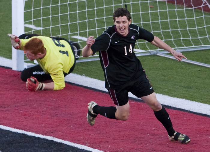 Greensburg Central Catholic's Timmy Szekely celebrates his goal against Geibel on Thursday, Oct. 23, 2014 at Elizabeth Forward High School. Geibel won 2-1.