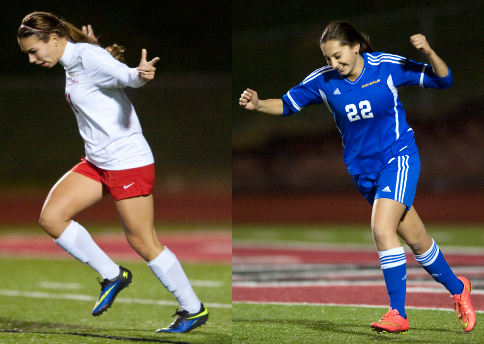 Right: Peters Township's Madison Santo celebrates her penalty kick against Canon-McMillan on Wednesday, Oct. 22, 2014 at Elizabeth Forward High School. Canon-McMillan won 2-1 in a shootout.  Left: Canon-McMillan's Ashlyn Whipple celebrates her penalty kick against Peters Township on Wednesday, Oct. 22, 2014 at Elizabeth Forward High School. Canon-McMillan won 2-1 in a shootout.