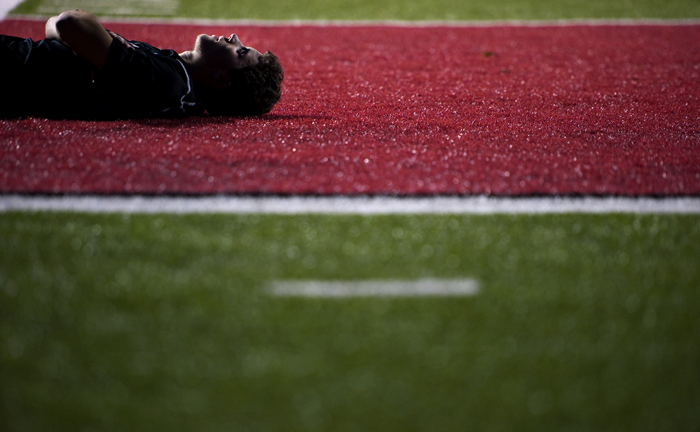 Greensburg Central Catholic's Timmy Szekely rests during halftime against Geibel on Thursday, Oct. 23, 2014 at Elizabeth Forward High School. Geibel won 2-1.