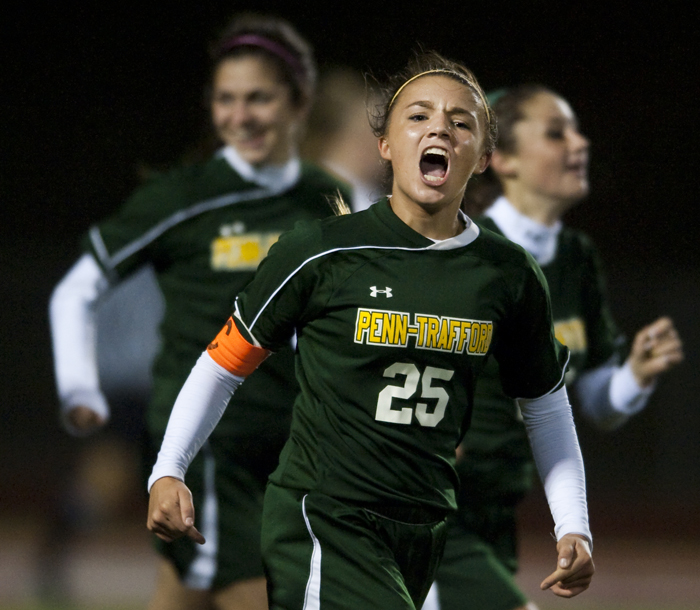 Penn-Trafford's Athena Biondi reacts after a goal against Upper St. Clair on Wednesday, Oct. 22, 2014 at Elizabeth Forward High School. Penn-Trafford beat Upper St. Clair 2-1.