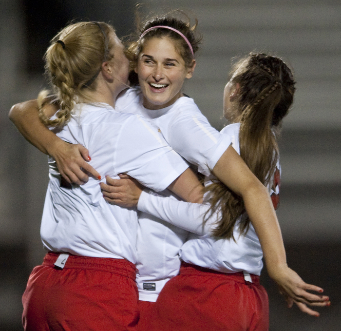 Peters Township's Laurel Carpenter celebrates her goal against Canon-McMillan on Wednesday, Oct. 22, 2014 at Elizabeth Forward High School. Canon-McMillan won 2-1 in a shootout.
