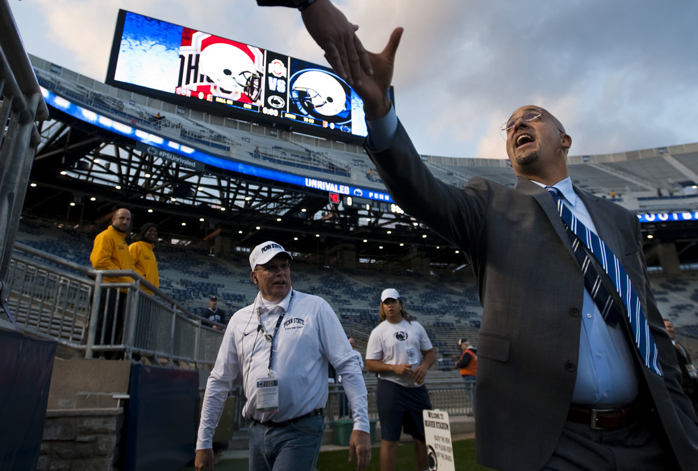 Penn State head coach James Franklin greets stadium staff prior to the game against Ohio State at Beaver Stadium on Oct. 25, 2014, in University Park. Ohio State won 31-24 in the second overtime.