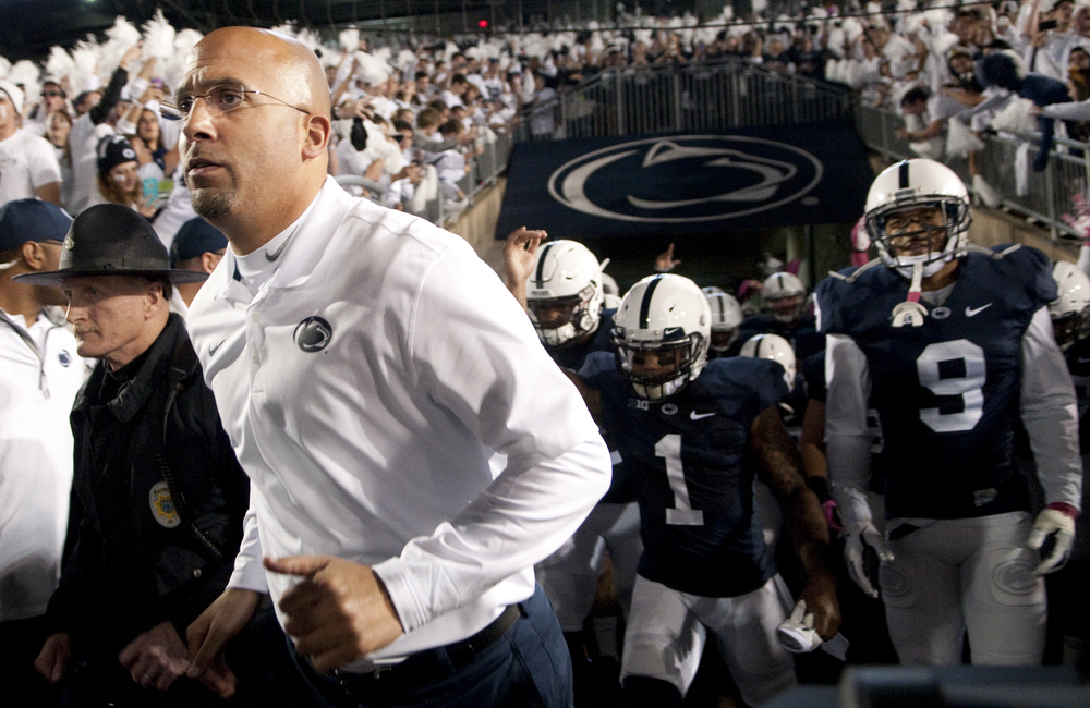 Penn State head coach James Franklin takes the field prior to the game against Ohio State at Beaver Stadium on Oct. 25, 2014, in University Park. Ohio State won 31-24 in the second overtime.