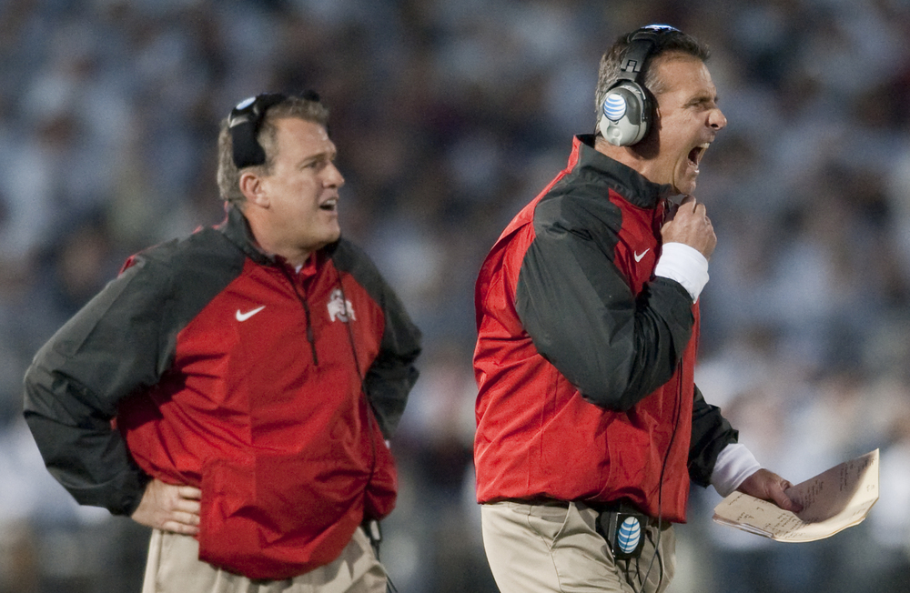 Ohio State head coach Urban Meyer yells to his team against Penn State at Beaver Stadium on Oct. 25, 2014, in University Park. Ohio State won 31-24 in the second overtime.