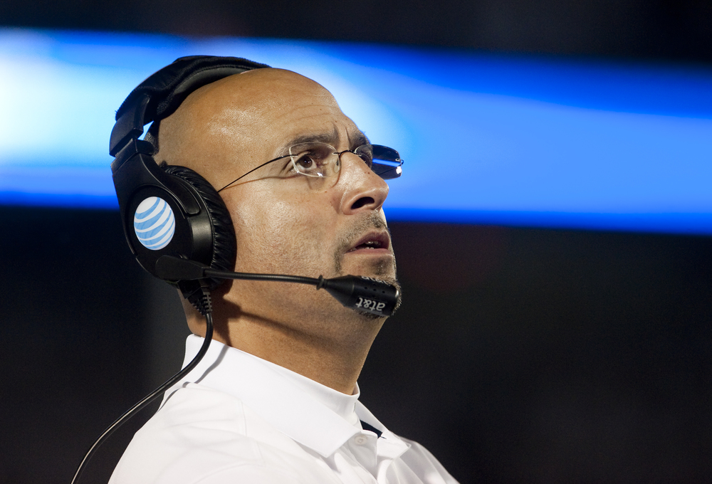 Penn State head coach James Franklin looks toward the scoreboard during the game against Ohio State at Beaver Stadium on Oct. 25, 2014, in University Park.