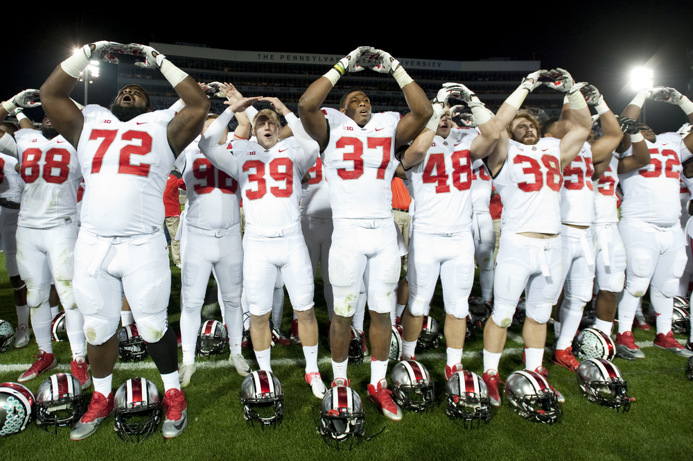 Ohio State motions after their win against Penn State at Beaver Stadium on Oct. 25, 2014, in University Park. Ohio State won 31-24 in the second overtime.