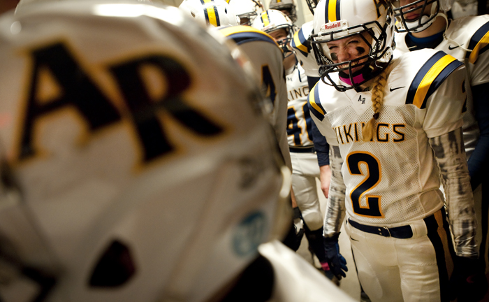 Apollo-Ridge's Megan Bonelli prepares to take the field against Washington in the locker room on Friday, Nov. 7, 2014 at Greater Latrobe High School. Washington won 58-30.