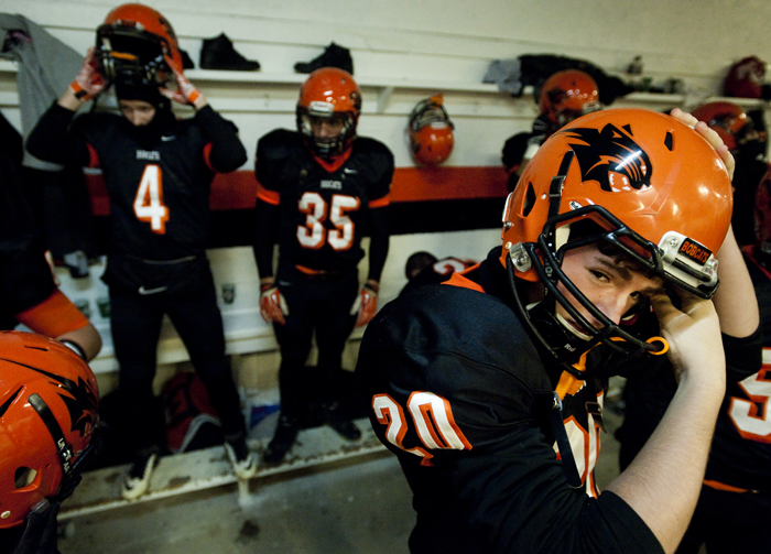 Blairsville prepares to take the field against Portage during a District 6 semifinal game on Saturday, Nov. 15, 2014 in Blairsville. Portage won 28-24.