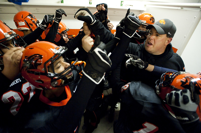 Blairsville head coach Rick Artley brings his team together in the locker room before playing against Portage during a District 6 semifinal game on Saturday, Nov. 15, 2014 in Blairsville. Portage won 28-24.