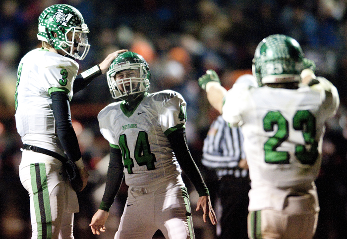 Portage's Nick Lutz (44) reacts with Michael Bryja (3) and Caleb Kephart (23)after he scored an extra point after the game-winning touchdown during a District 6 semifinal game on Saturday, Nov. 15, 2014 in Blairsville. Portage won 28-24.