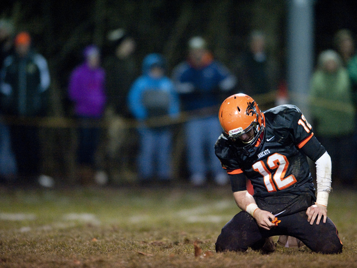 Blairsville's Scott Thompson reacts after an incomplete pass against Portage during a District 6 semifinal game on Saturday, Nov. 15, 2014 in Blairsville. Portage won 28-24.