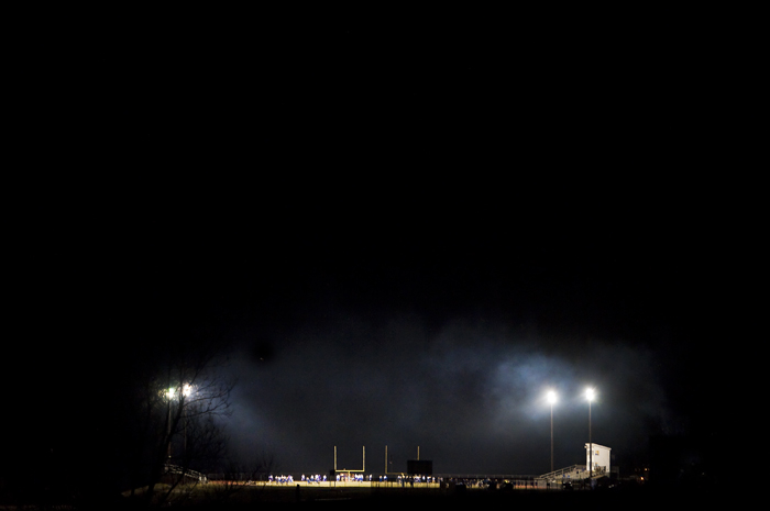 Cold weather settles on the field at Chestnut Ridge High School before the first round PIAA playoff game between Chestnut Ridge and Karns City on Friday, Nov. 21, 2014.