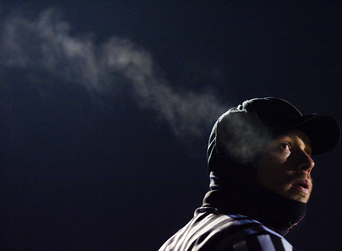 A referee looks toward the clock during the game between Chestnut Ridge and Karns City on Friday, Nov. 21, 2014 at Chestnut Ridge High School. Karns City won 23-14.