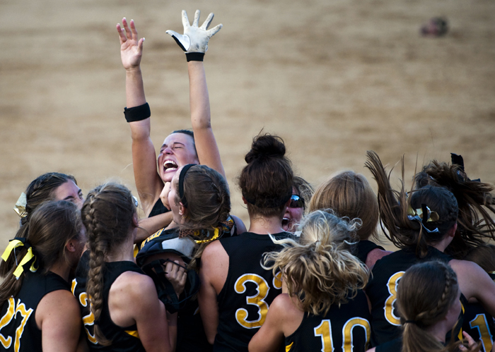 Thomas Jefferson's Janelle Allison celebrates with her team their win over Mars Area during the WPIAL AAA softball championships on Thursday, May 29, 2014 at California University of Pennsylvania's Lilley Field.